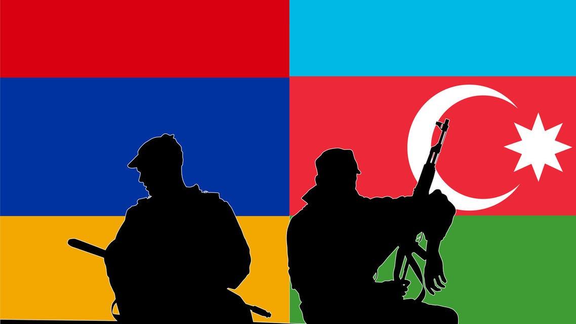 Soldiers of Armenia and Azerbaijan. (Stock Photo)