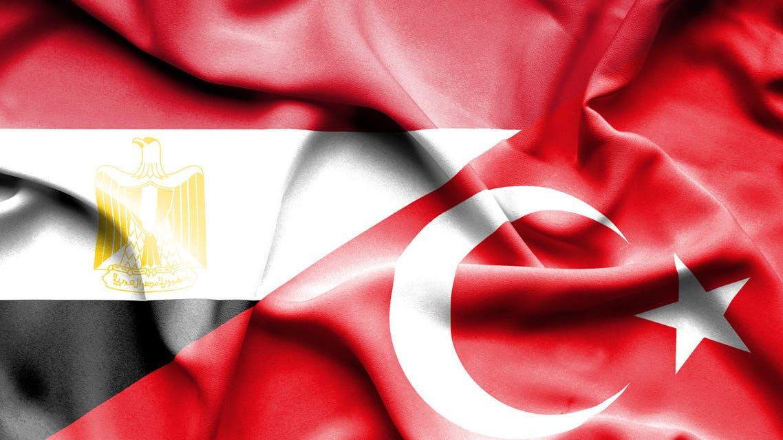 Waving flag of Turkey and Egypt stock illustration