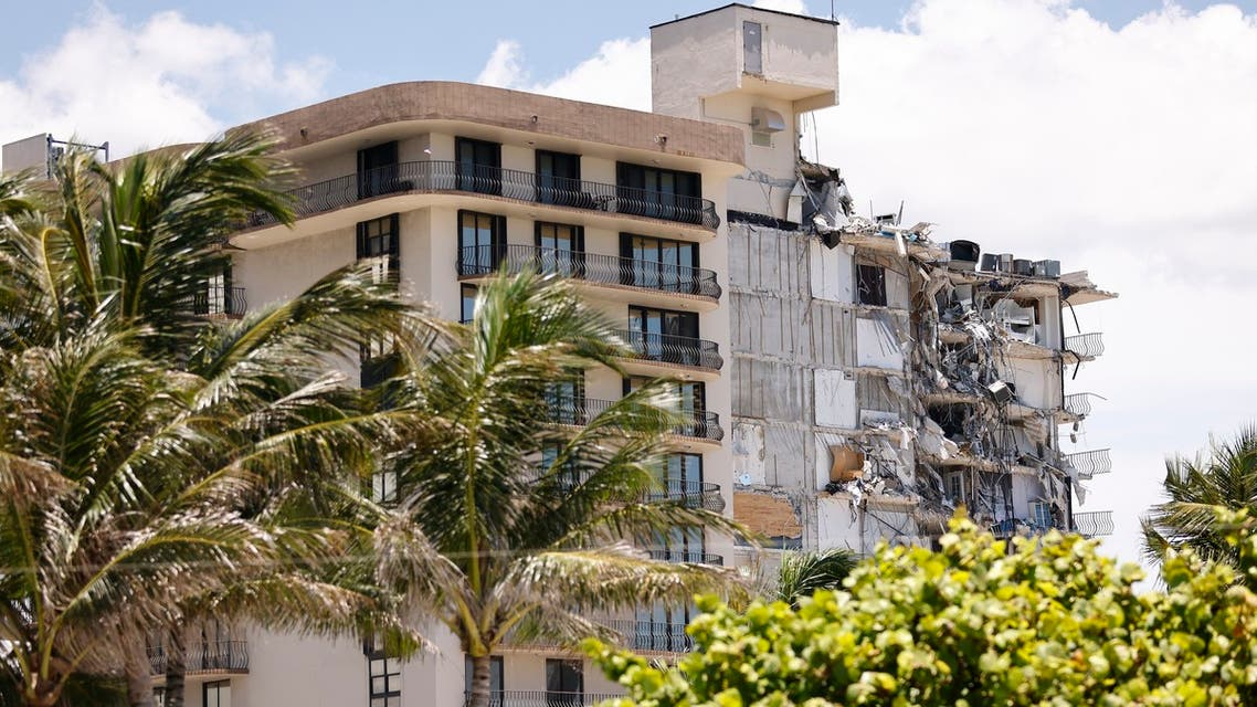 Search and Rescue teams look for possible survivors in the partially collapsed 12-story Champlain Towers South condo building on June 30, 2021 in Surfside, Florida. Four more bodies were discovered overnight in the rubble of a collapsed apartment building in Florida, authorities said Wednesday, as the search for more than 140 people unaccounted for entered its seventh day.