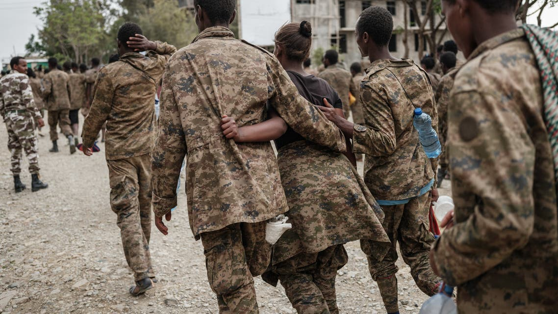 Captive Ethiopian soldiers arrive at the Mekele Rehabilitation Center in Mekele, the capital of Tigray region, Ethiopia, on July 2, 2021. According to the Tigray Defence Forces (TDF), more than 7,000 captive Ethiopian soldiers have walked from Abdi Eshir, about 75 km southwest of Mekele, for four days.