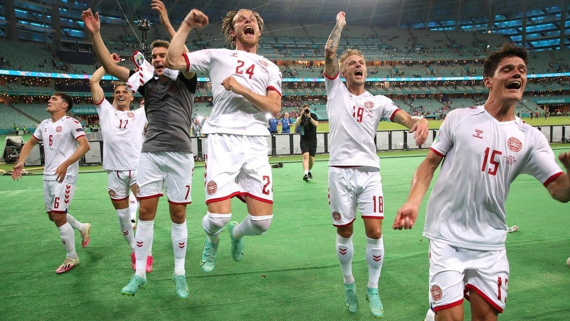 Denmark players celebrate after the match. (Reuters)