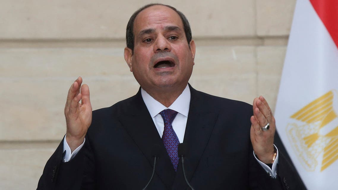 Egyptian President Abdel Fattah al-Sisi speaks during a press conference with French President following their meeting at the Elysee presidential Palace on December 7, 2020 in Paris, as part of al-Sisi's three-day controversial state visit to France, with activists warning Paris not to turn a blind eye to Cairo's rights record with a red carpet welcome.