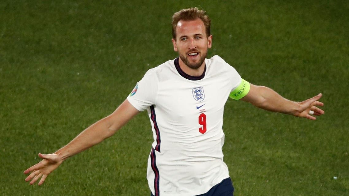 England's Harry Kane celebrates scoring their third goal. (Reuters)