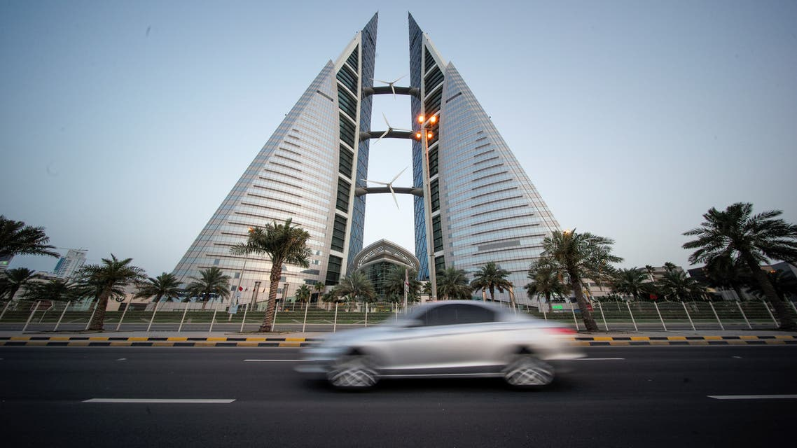 General view of Bahrain World Trade Center is seen during early evening hours in Manama, Bahrain, May 2, 2020. (Reuters)