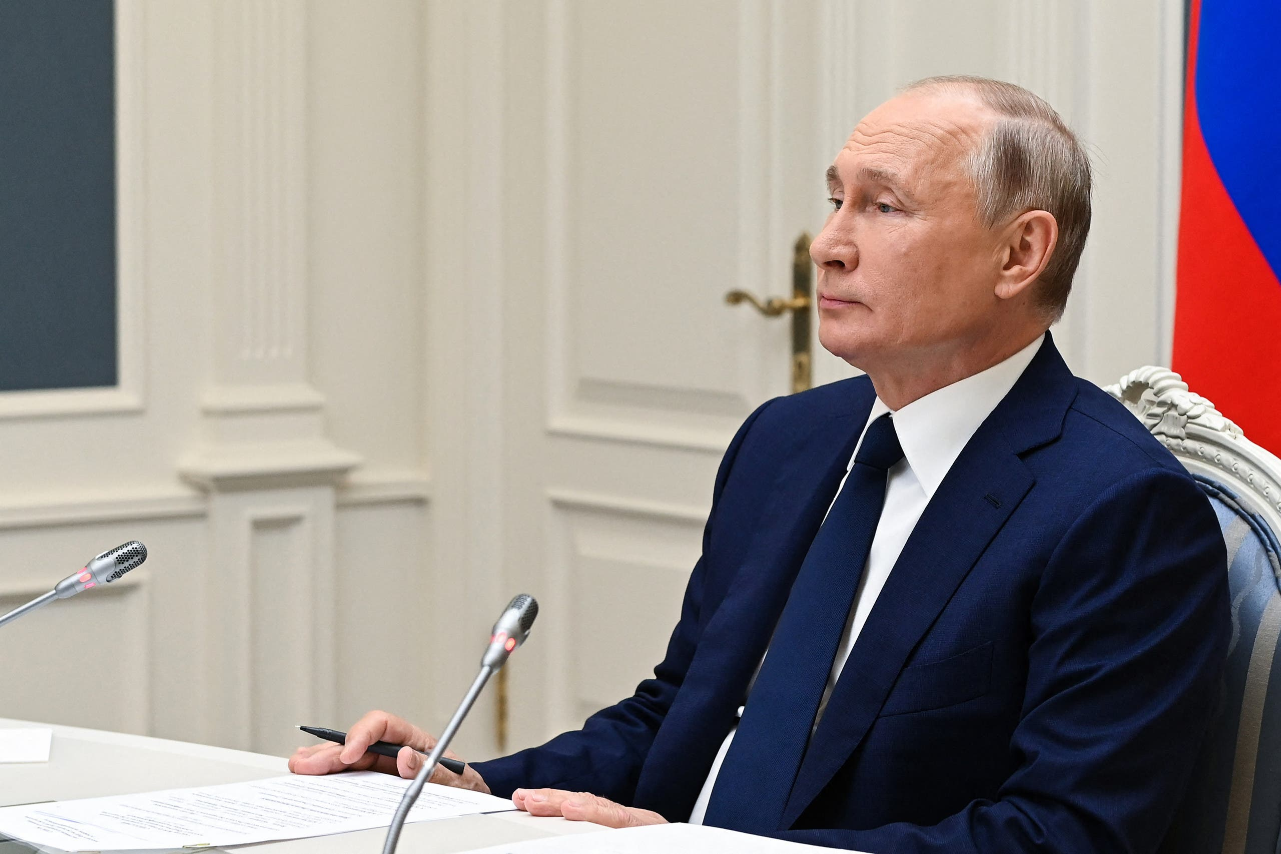 Russian President Vladimir Putin attends a session of the 8th Forum of Regions of Belarus and Russia via video link at the Kremlin in Moscow on July 1, 2021. (Stock image)