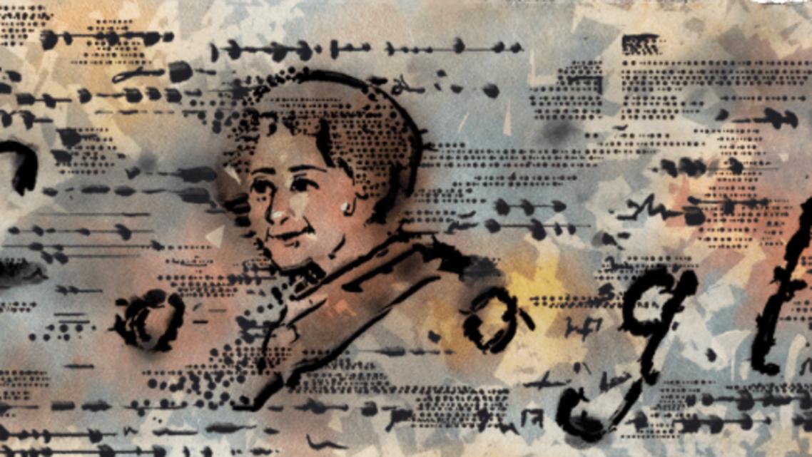 Google doodle of late Palestine-born artist Maliheh Afnan on Monday 5 July 2021. (Screengrab)