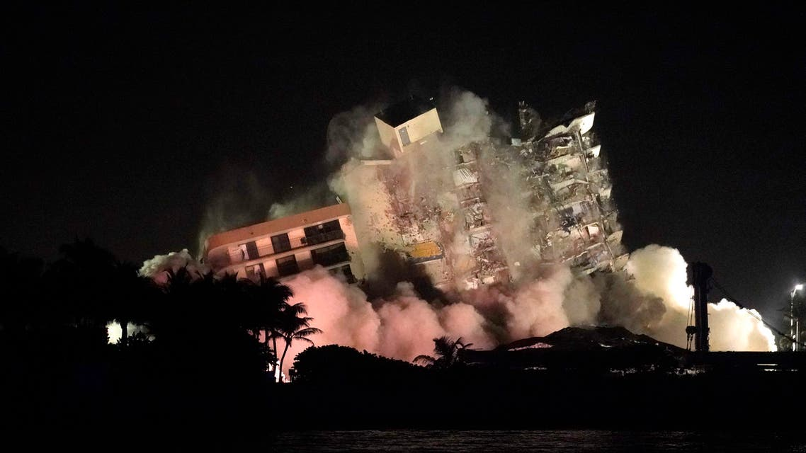 The remaining structure of the Champlain Towers South condo building is demolished more than a week after it partially collapsed, Sunday, July 4, 2021, in Surfside, Florida. (AP)