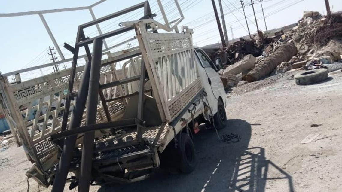 من حادثة سقوط ثلاثة صواريخ على قاعدة عين الأسد الجوية في محافظة الأنبار