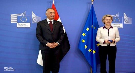 مصطفى الکاظمی و اورسولا فون در لاین رئیس کمیسیون اروپا
