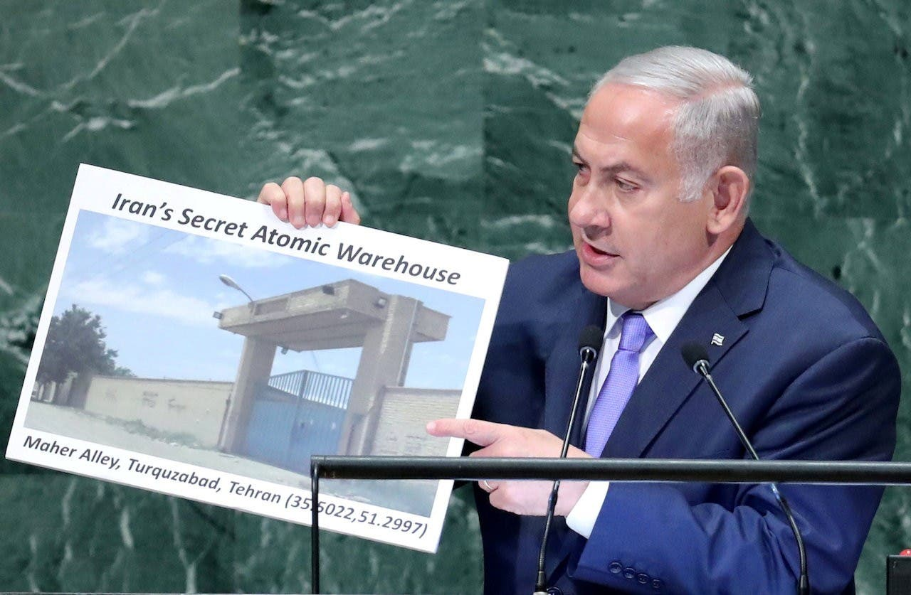نتانیاهو در سازمان ملل متحد در سپتامبر ۲۰۱۸ بایگانی اسناد اتمی مخفی ایران را نشان داد