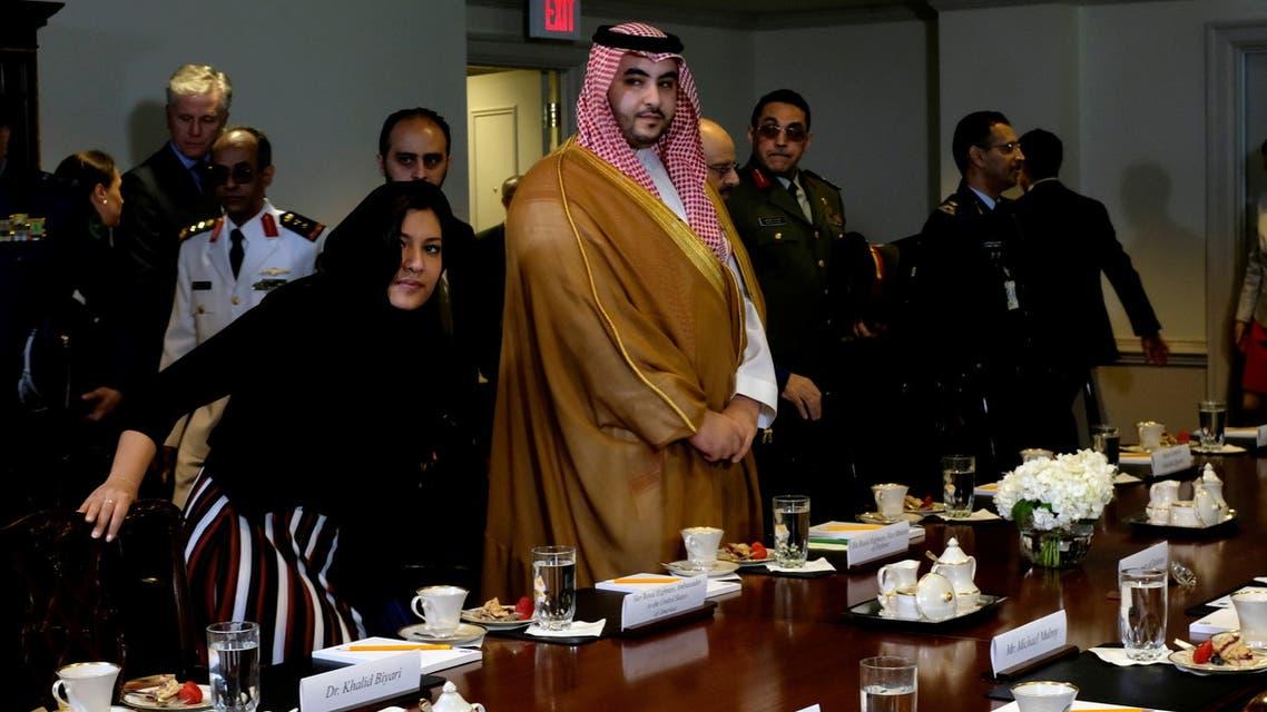 FILE PHOTO: Saudi Arabia's Deputy Defense Minister Prince Khalid bin Salman arrives at a meeting at the Pentagon in Washington, U.S., August 29, 2019. REUTERS/James Lawler Duggan/File Photo