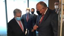 شكري يؤكد لغوتيريش ضرورة المساهمة الدولية لحل أزمة سد النهضة