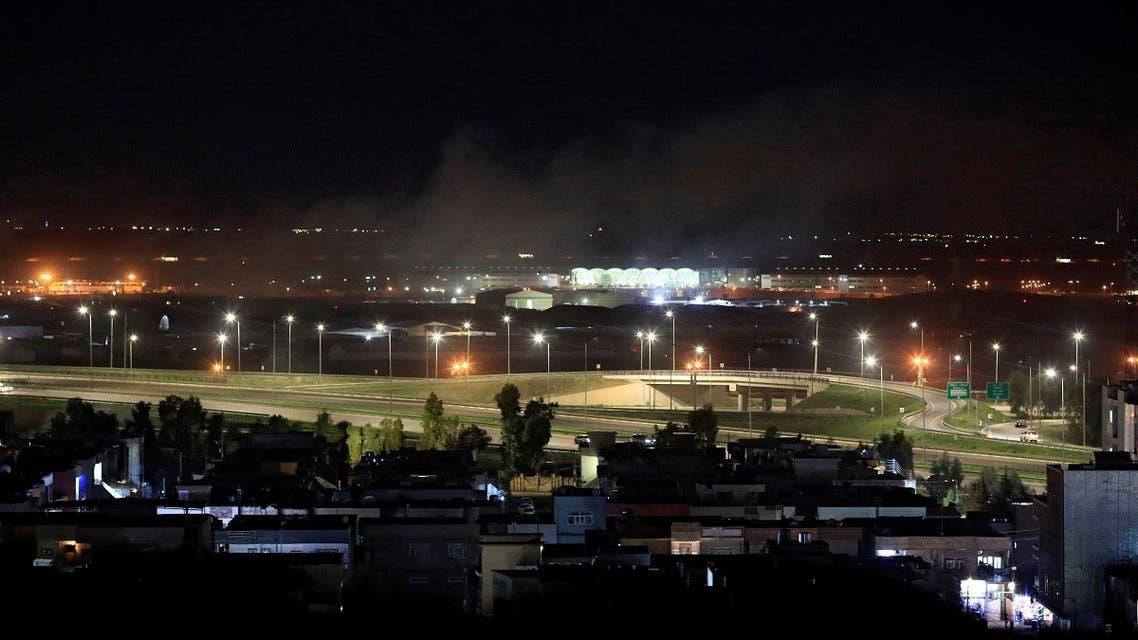 Smoke rises over the Erbil, after reports of mortar shells landing near Erbil airport, Iraq Feb. 15, 2021. (Reuters)