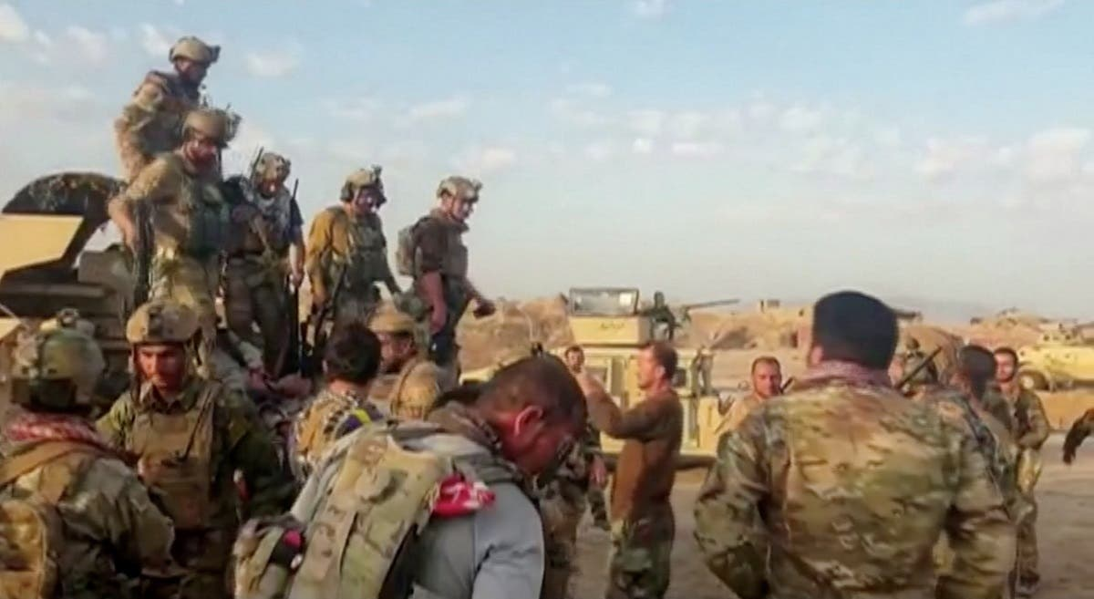 Afghan commando forces gather together in Kunduz, Afghanistan on July 7, 2021, in this still image taken from a video. (Reuters)