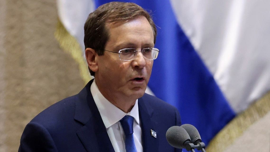 Israeli President Isaac Herzog speaks at the Knesset, Israeli parliament, in Jerusalem, on July 7, 2021. (Reuters)