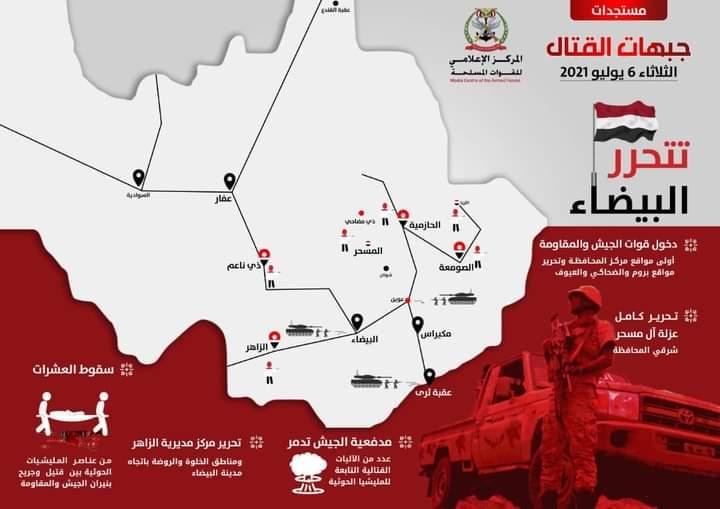 رسم يوضح تقدم الجيش في البيضاء