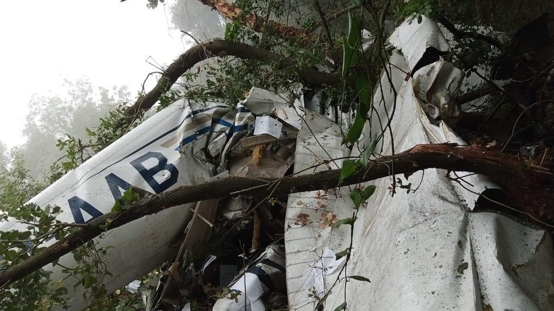 A small training aircraft has crashed in Lebanon's town of Ghosta, north of the capital Beirut, carrying a pilot and two passengers, aviation sources say. (Twitter)