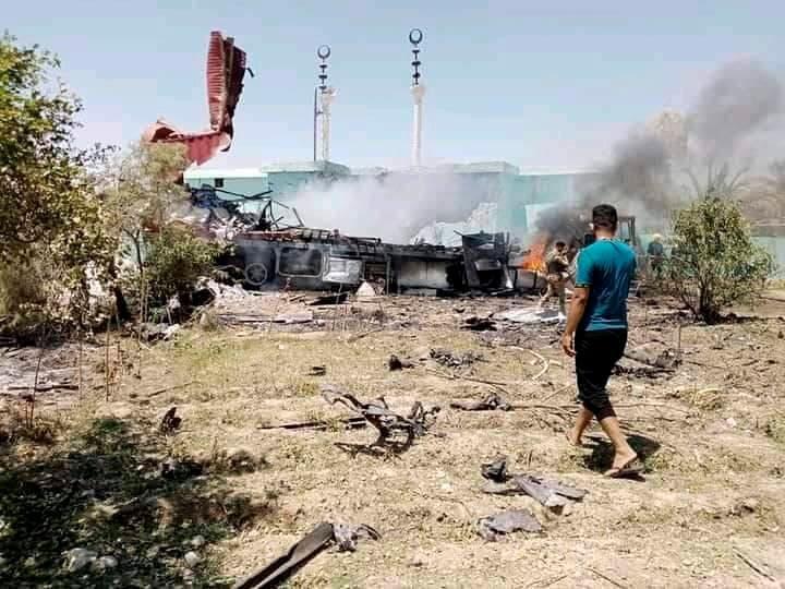Smoke is seen in al-Baghdadi following rocket attacks in Anbar province, Iraq July 7, 2021. (Reuters)