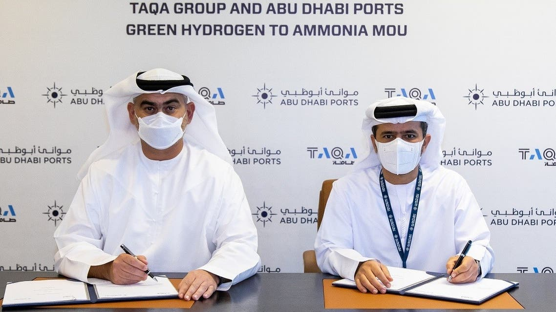 Jasim Husain Thabet, TAQA's Group Chief Executive Officer and Managing Director and Captain Mohamed Juma Al Shamisi, Group CEO, Abu Dhabi Ports, signed the MoU on July 7, 2021. (Supplied)