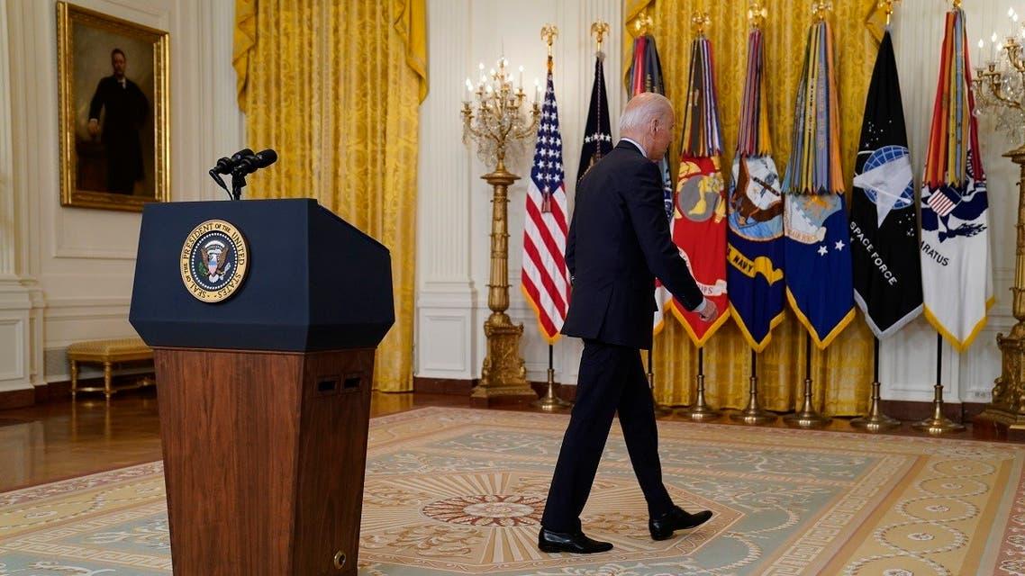President Joe Biden leaves after speaking about the American troop withdrawal from Afghanistan, July 8, 2021. (AP)