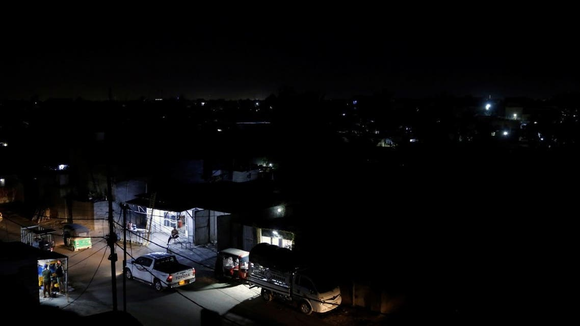 A general view of the city during a power cut in Baghdad, Iraq, on July 3, 2021. (Reuters)