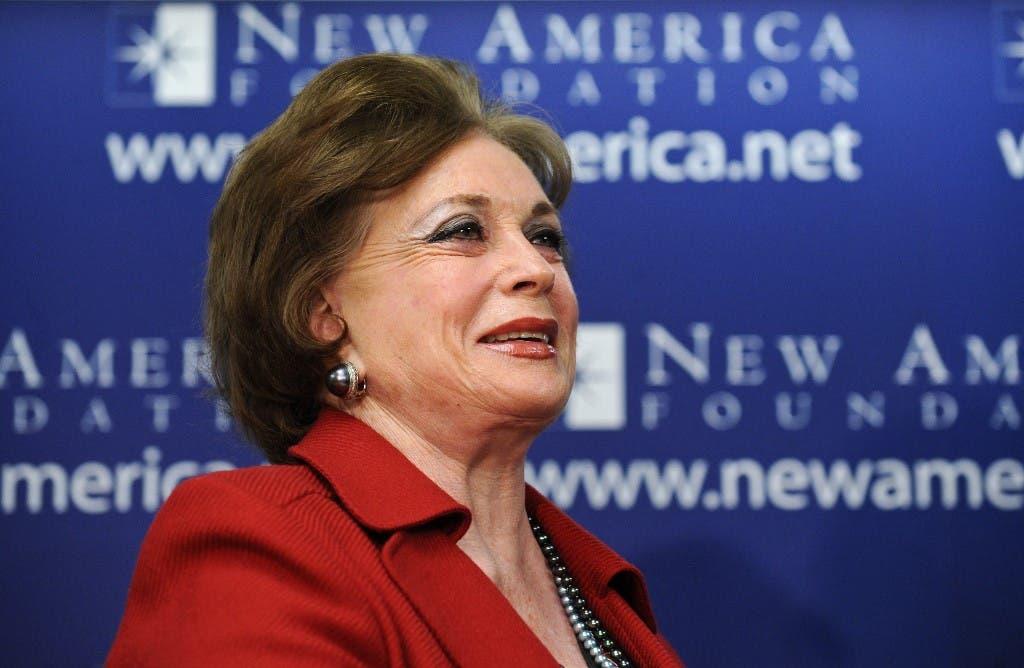 Jehan Sadat, widow of Egyptian president Anwar al-Sadat, speaks at the New America Foundation in Washington on March 31, 2009. (AFP)