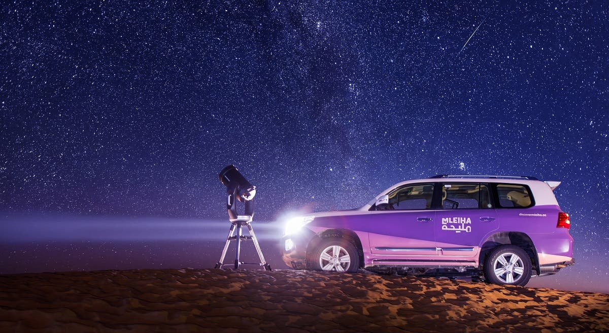"""The """"Mobile Stargazing Experience' from Mleiha includes the HD telescope and assistance of an expert guide, to the location that the guests choose. (Courtesy: Shurooq)"""