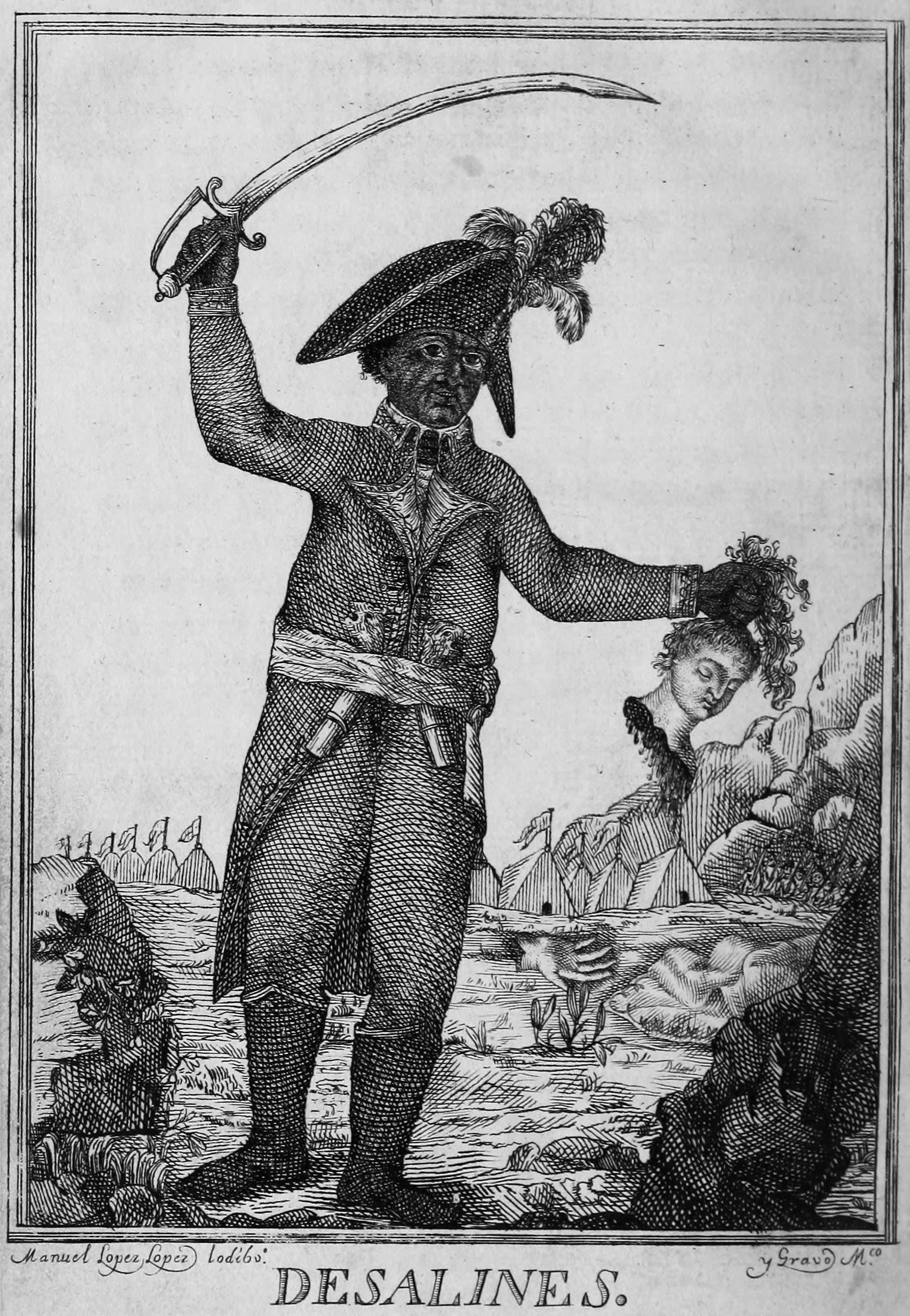 لوحة تجسد ديسالين وهو يحمل بيده رأس فرنسي