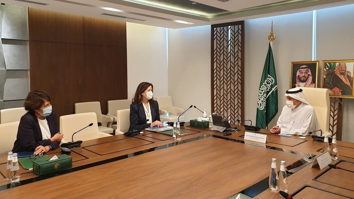 French Ambassador Anne Grillo and US Ambassador Dorothy Shea meet with officials in Saudi Arabia to discuss the crisis in Lebanon, July 8, 2021. (US Embassy Beirut)