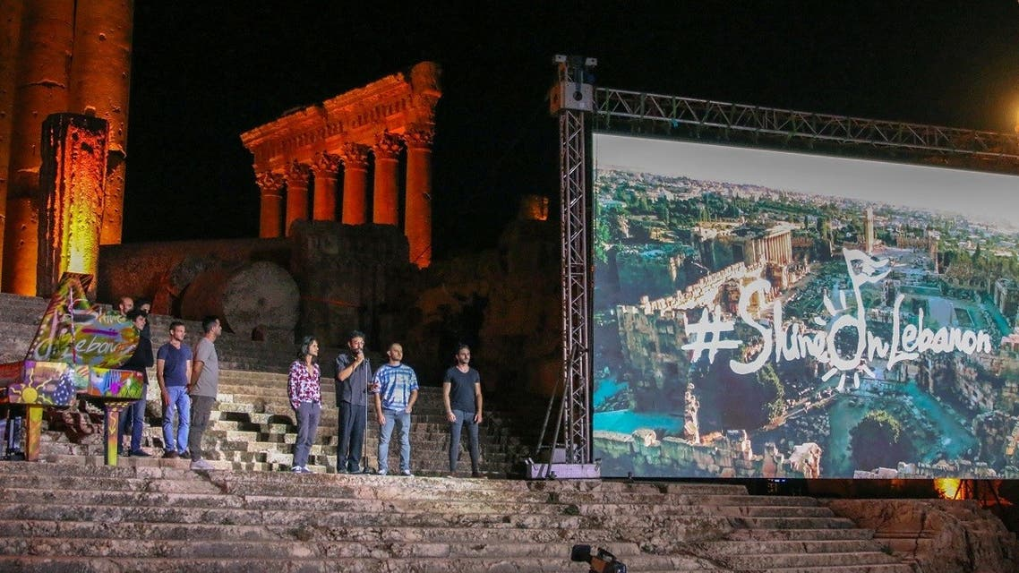 Artists perform during the Baalbek Festival, held virtually under the theme defying darkness with music, in crisis-hit Lebanon's eastern Bekaa Valley, on July 9, 2021. (AFP)