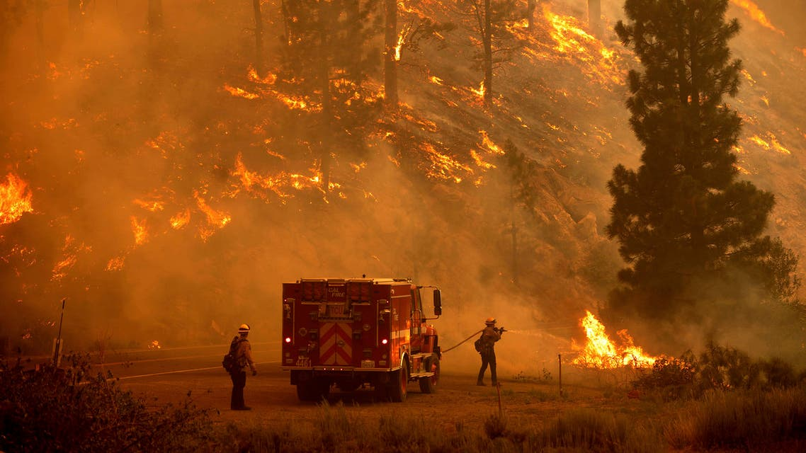 Firefighters battle the Sugar Fire, part of the Beckwourth Complex Fire, in Plumas National Forest, California, on Thursday, July 8, 2021. (AP)