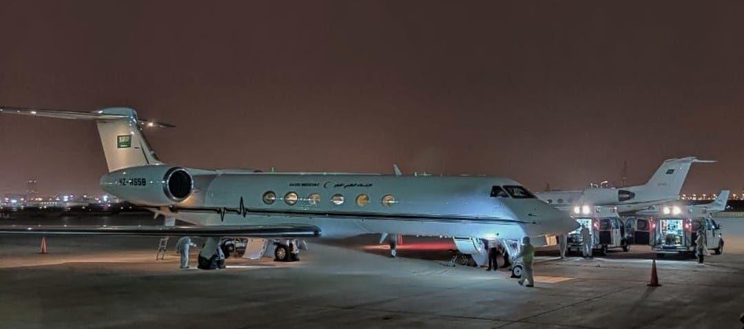 الطائرة عند وصولها الرياض
