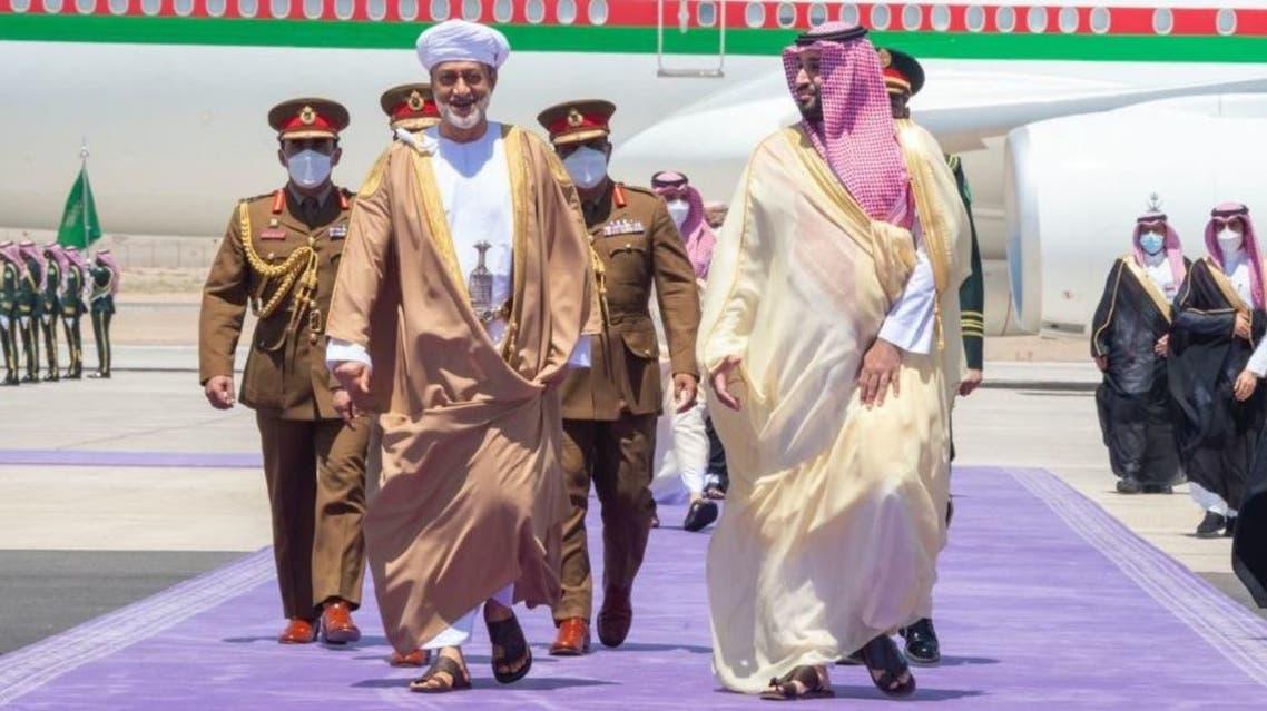 Saudi Arabia's Crown Prince welcomes Oman's Sultan Haitham ahead of Neom talks. (Photo courtesy: Saudi Foreign Ministry)