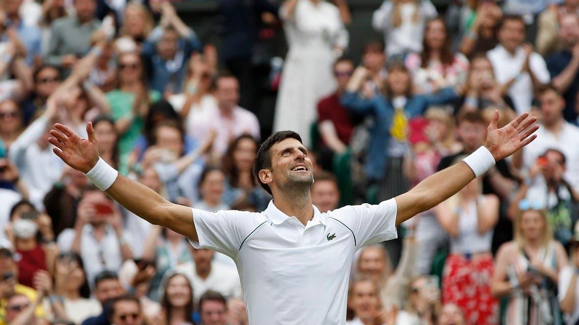 Serbia's Novak Djokovic celebrates winning his final match against Italy's Matteo Berrettini. (Reuters)