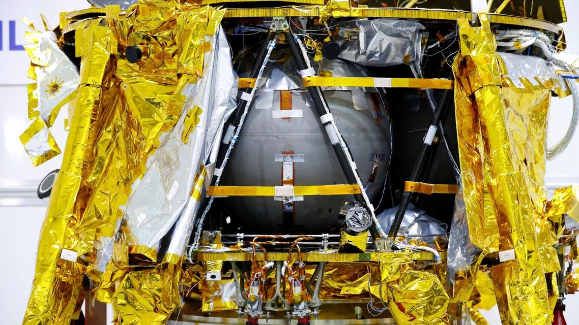A spacecraft weighing some 585 kilogrammes (1,300 pounds) is seen during a presentation by Israeli nonprofit SpaceIL and Israeli state-owned Aerospace Industries, on December 17, 2018 in Yehud, east of Tel Aviv. (AFP)
