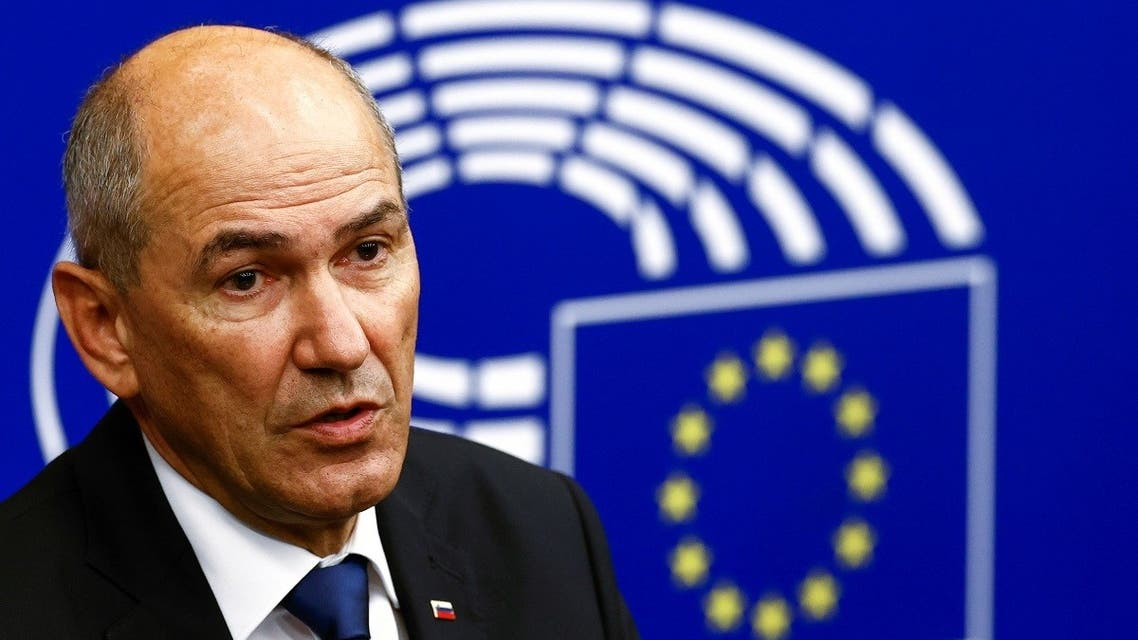 Slovenian Prime Minister Janez Jansa speaks during a news conference after the presentation of the programme of the activities of the Slovenian Presidency during a plenary session at the European Parliament in Strasbourg, France, July 6, 2021. (Reuters)