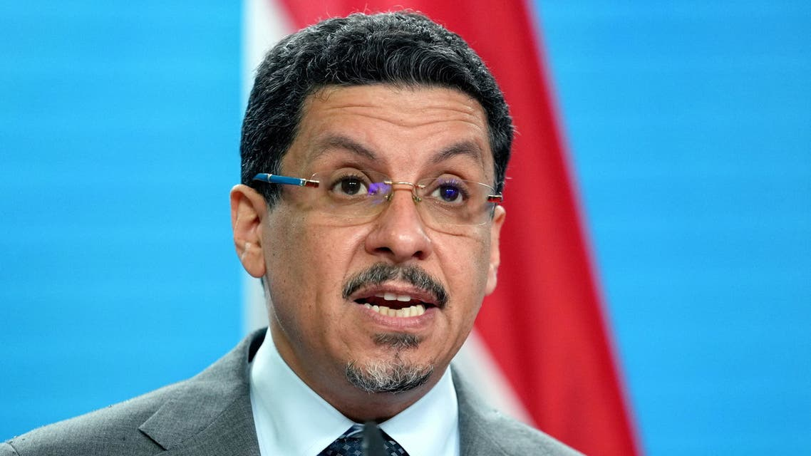 Yemen's Foreign Minister Ahmad Awad bin Mubarak addresses the media during a joint news conference with German Foreign Minister Heiko Maas prior to a meeting at the Foreign Ministry in Berlin, Germany, June 30, 2021. Michael Sohn/Pool via REUTERS