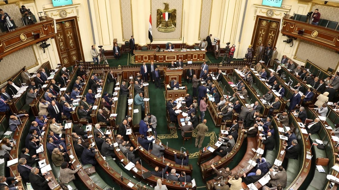 Egypt's members of parliament attend a session in Cairo on April 16, 2019. Egypt's parliament, packed with loyalists of President Abdel Fattah al-Sisi, began today a session to vote on constitutional changes that could keep the former military chief in power until 2030. The proposed amendments were initially introduced in February by a parliamentary bloc supportive of Sisi and updated this week after several rounds of debates.
