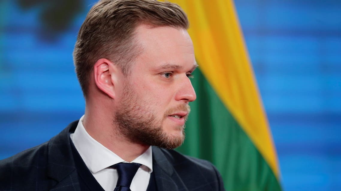 Lithuanian Foreign Minister Gabrielius Landsbergis looks on during a joint news conference with his German counterpart Heiko Maas, in Berlin, Germany, March 17, 2021. (Reuters)