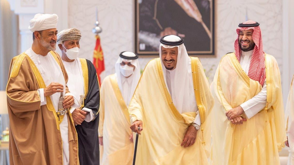 Saudi King Salman bin Abdulaziz receives Oman's Sultan Haitham bin Tariq at Royal Palace in Neom, Saudi Arabia, July 11, 2021. (Reuters)