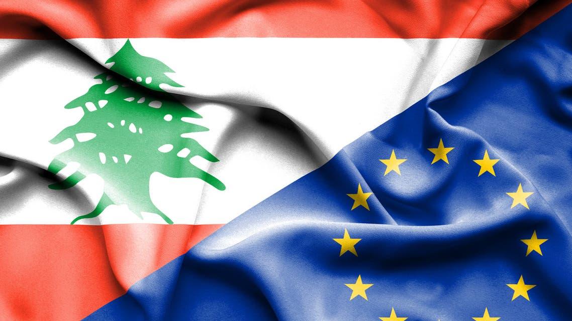 Waving flag of European Union and Lebanon. (Stock Photo)