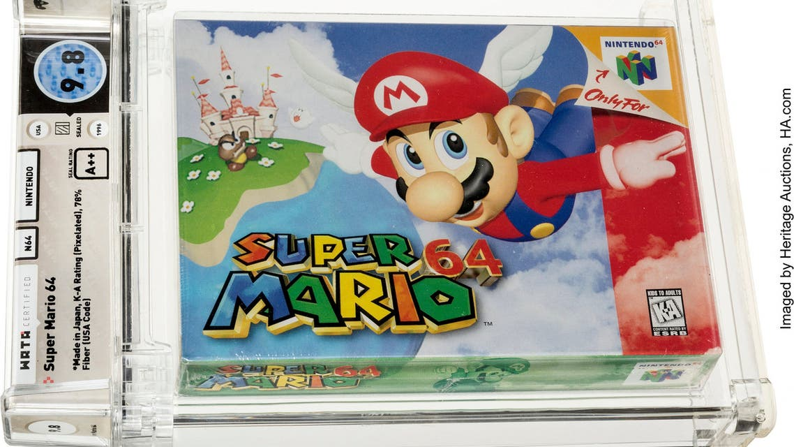 This handout image obtained July 11, 2021, courtesy of Heritage Auctions shows the Super Mario 64 Game Cartridge. A cartridge of Nintendo's classic video game Super Mario 64 set a world record on July 11, 2021, selling at auction for $1.56 million. The sale, the first ever of a game cartridge to surpass $1 million, came just two days after a sealed copy of The Legend of Zelda, made for the old Nintendo NES console, sold for a then-record of $870,000. Dallas-based Heritage Auctions, which handled both sales, has not identified the buyers.