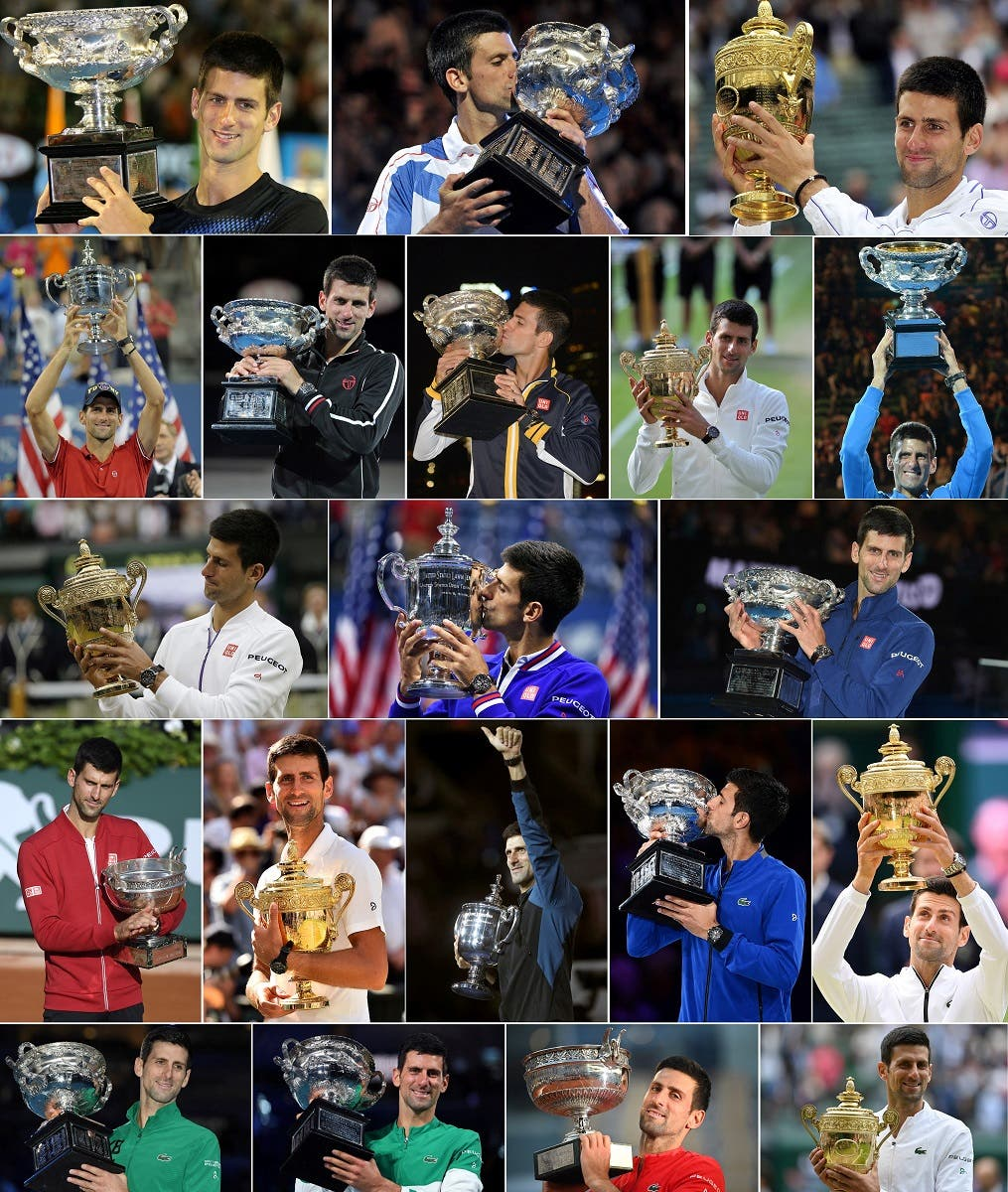 This combination of pictures created in London on July 11, 2021 shows Serbia's Novak Djokovic posing with his 20 men's singles Grand Slam titles after his victory at Wimbledon in 2019; (top row L-R) Australian Open 2008, Australian Open 2011, Wimbledon 2011; (2nd row L-R) US Open 2011, Australian Open 2012, Australian Open 2013, Wimbledon 2014, Australian Open 2015; (3rd row L-R) Wimbledon 2015, US Open 2015, Australian Open 2016; (4th row L-R) French Open 2016, Wimbledon 2018, US Open 2018, Australian Open 2019 and Wimbledon 2019; (bottom row L-R) Australian Open 2020 and 2021, French Open 2021 and Wimbledon 2021. (AFP)