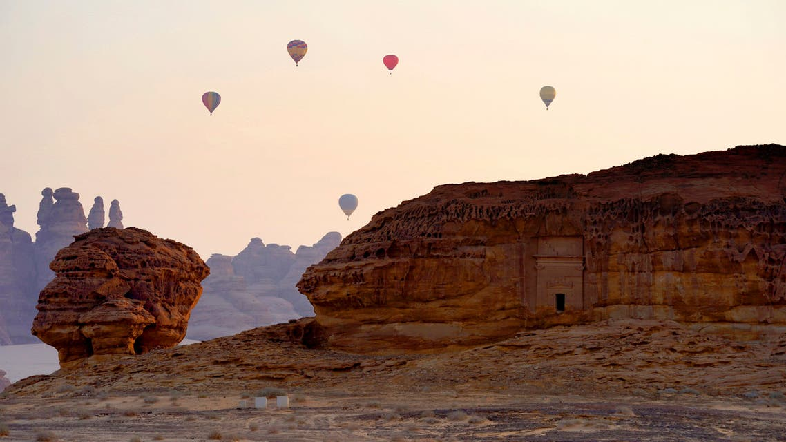 This image released on Friday, Feb. 8, 2019 shows a scene during the 2019 AlUla Balloon Festival part of Winter at Tantora in Al-Ula, Saudi Arabia. (File photo: AP)