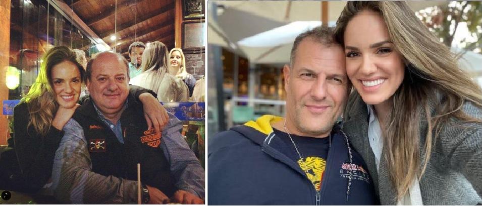 إلى اليمين مع صديقها، وصورة إلى اليسار مع والدها المتحدر من عائلة غجر في لبنان كما يبدو