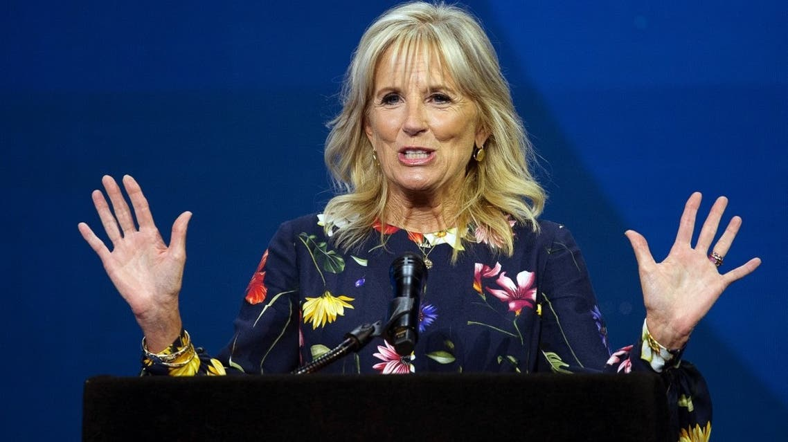 US First Lady Jill Biden speaks during the 2021 Scripps National Spelling Bee Finals at the ESPN Wide World of Sports Complex at Walt Disney World Resort in Lake Buena Vista, Florida, US, on July 8, 2021. (Reuters)