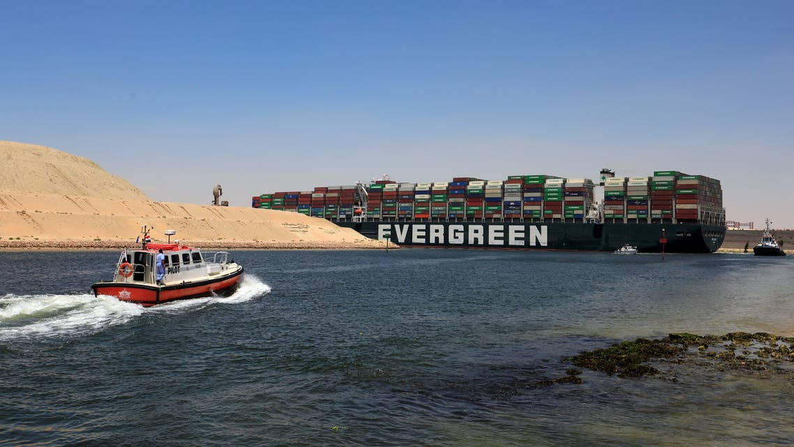 Ever Given, one of the world's largest container ships, sets sail to leave through Suez Canal after the canal authority reached a settlement with the vessel's owner and insurers, in Ismailia, Egypt, July 7, 2021. (Reuters)