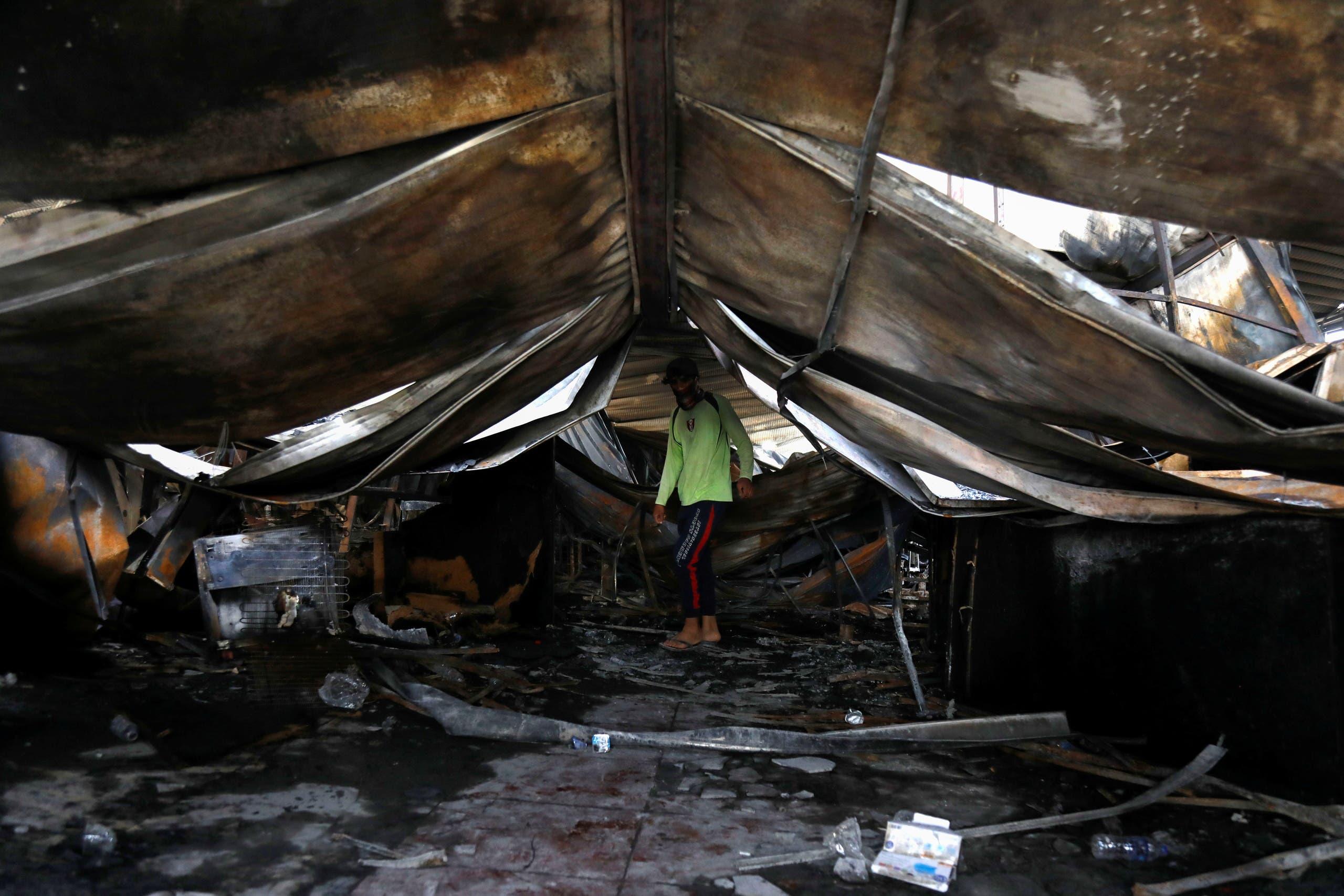 مستشفى الحسين بعد الحريق (رويترز)