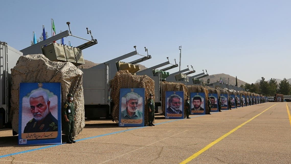 Iranian missiles are seen at a new missile city of IRGC naval unit at an undisclosed location in Iran, in this picture obtained on March 15, 2021. (Reuters)