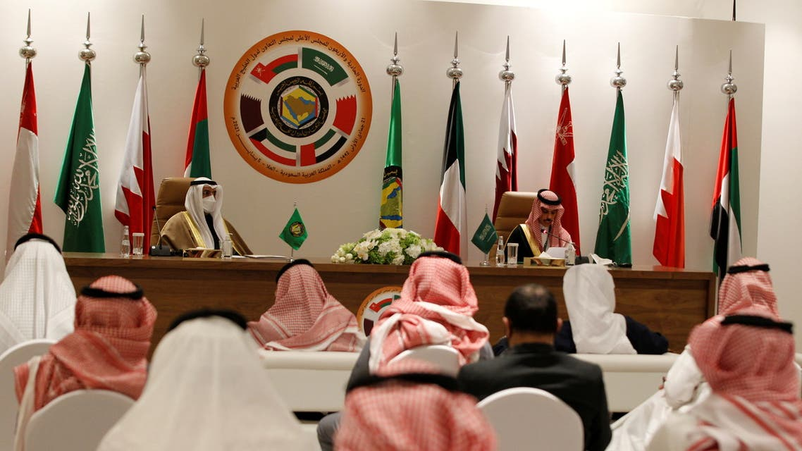Secretary-General of the Gulf Cooperation Council (GCC) Nayef Falah al-Hajraf and Saudi Arabia's Foreign Minister Prince Faisal bin Farhan Al Saud speak during a joint news conference at the Gulf Cooperation Council's (GCC) 41st Summit in Al-Ula, Saudi Arabia January 5, 2021. (File photo: Reuters)